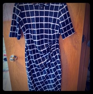 Connected Apparel Dress Navy Blue & Beige Size 6